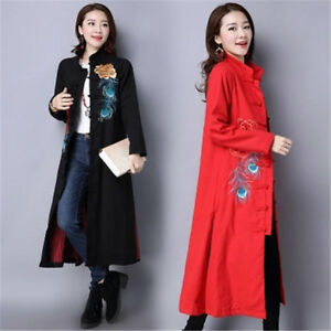 Women-Chinese-Style-Embroidered-Floral-Long-Sleeve-Coat-Mid-Long-Casual-Jacket