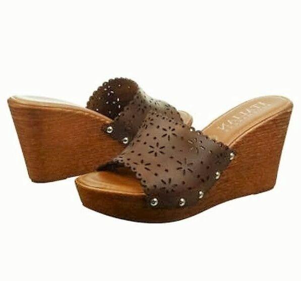 Italian shoesmakers Blair slide wedge platform sandal tan brown sz 11 Med NEW