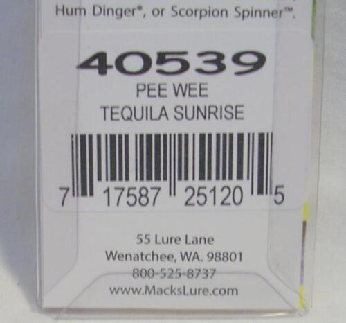 "Shasta//Macks 2/"" Pee Wee Spinner Pre Rigged Hoochie Tequila Sunrise Fishing Lure"