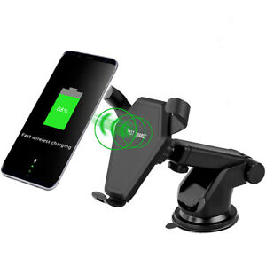 Qi-Wireless-Charger-Car-Charging-Phone-Mount-Holder-For-iPhone-X-8-Samsung-S9-S8