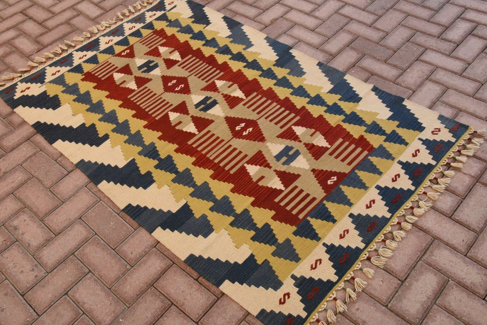 Turkish Handwoven Anatolian Wool Floor Carpet Carpet Carpet Handmade Antique Kilim Rug 4x6 ft 7d4101