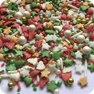 Details About Christmas Mega Mix Edible Sugar Christmas Cupcake Sprinkles Cake Decoration
