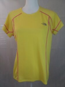 fdeaeb1fc Details about The North Face Women's large Flash Dry S/S running Shirt  yellow reflective EUC