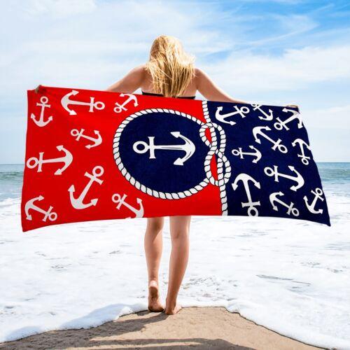 Premium Anchors Large Beach Towel 100/% Cotton Soft Turkish Bath Towel