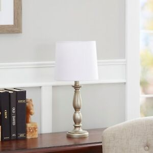Antique Style Silver Turned Resin Table Lamp Living Room ...