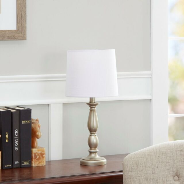 Antique Style Silver Turned Resin Table Lamp Living Room Study By Mainstays