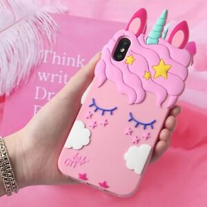 finest selection dbf64 c7b05 Details about Pink Girly Unicorn Cute Phone Case Protective Silicone Gel  Cover For iPhone