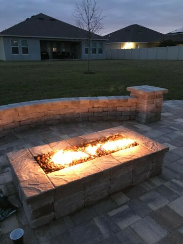 """DIY PRE-PLUMBED GAS FIRE PIT KIT /& 20/"""" LIFETIME WARRANTED 316 H-BURNER H20K++"""