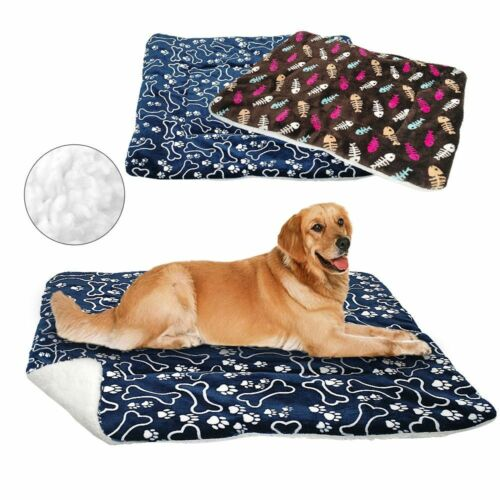 Winter Dog Cat Bed Mat Pet Cushion Blanket Warm Paw Print Puppy Cat Fleece Pad