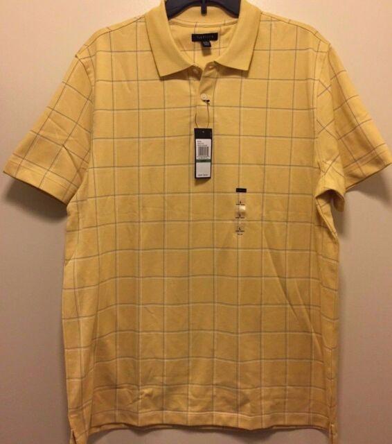 d5a6ef789c86 Mens Van Heusen Short Sleeve Polo Shirt Bright Yellow Large L Retail ...