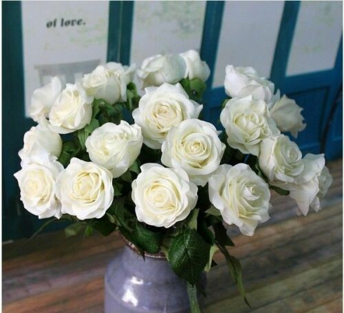 LOT Head Rose Artifical Flower Real Latex Touch Wedding Party Home Bouquet Decor