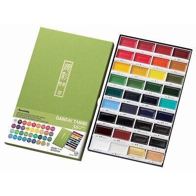 KURETAKE GANSAI TAMBI 36 Color Set - Japanese Watercolors - HIGHEST QUALITY