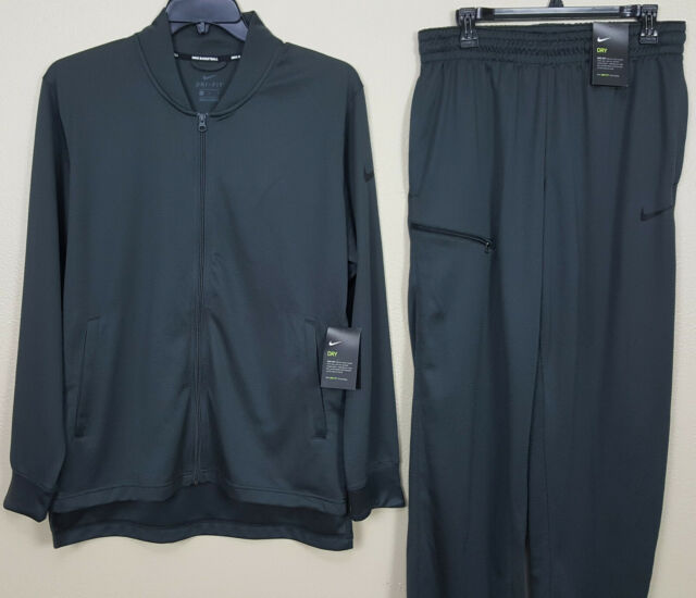 NIKE DRI-FIT BASKETBALL SUIT JACKET + PANTS GREY BLACK RARE NEW (SIZE LARGE)