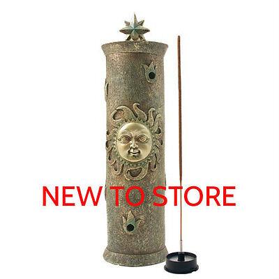 "Incense Burner polyresin - Sun Tower Smoker - For 11"" sticks Hand Made SUNT"