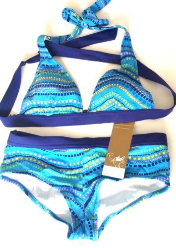 36B  Blau Edles Triangel-Bikini Set in Gr