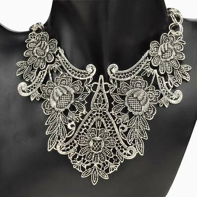 Vintage Tibet Silver Plated Flower Hollowed Statement Bib Chain Pendant Necklace
