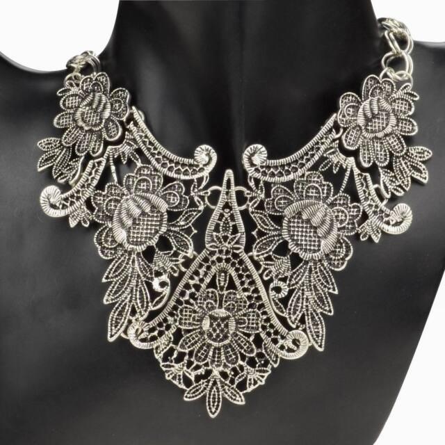 Vintage Tibet Silver Plated Flower Hollowed Statement Bib Chain Pendant Necklace