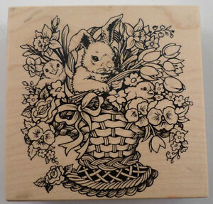 Psx Easter Bunny Flowers And Chicks In A Basket K1439 Wooden Rubber Stamp