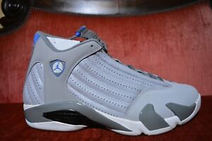 f40c55398c1632 Nike Air Jordan 14 XIV RETRO Wolf Grey Sport Blue 487471 004 Size 12 ...