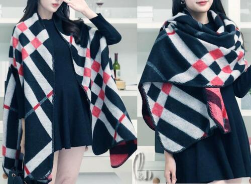 AU STOCK WOMENS PONCHO BLANKET CLOAK CAPE COAT WARM OVERSIZE SCARE//SHAWL SC075-7