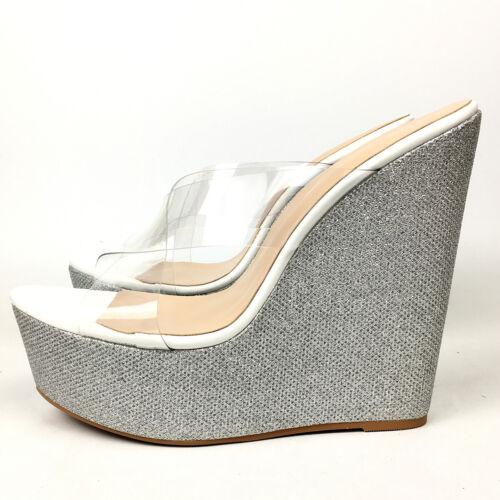 Women Silver Glitter Wedge Slipper Sandals Sky High Heels Platform Slide Mules