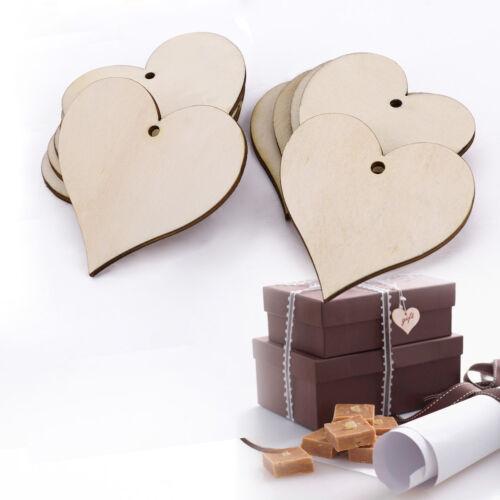 25 x Wooden Mini Heart Shape Embellishments Gift Tags Labels Wedding Decorection