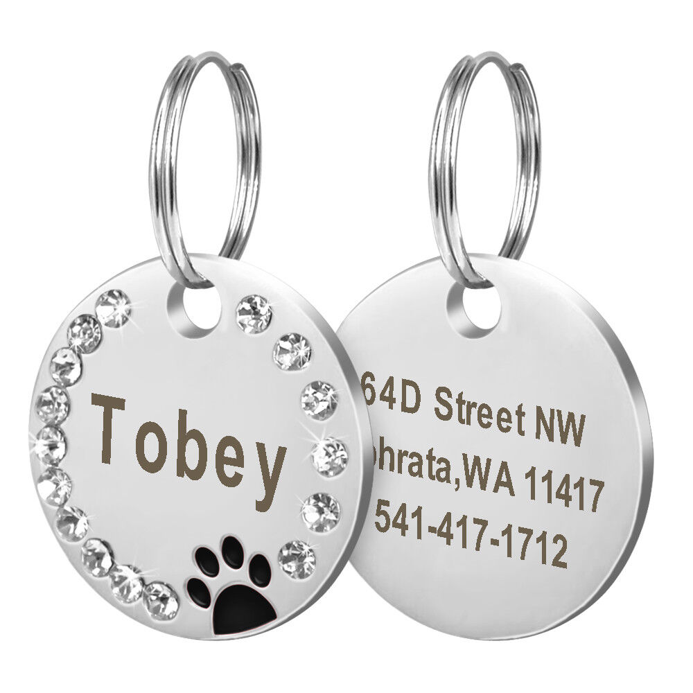 100pcslot Wholesale Personalized Personalized Personalized Dog Tags Paw Rhinestones Pet Cat ID Name Tag 7937c5