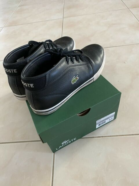 """LACOSTE Mens """"Ampthill"""" High Top Black Leather Shoes Sneakers -  Size 8.5"""