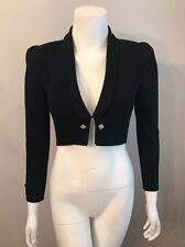 Stunning Vintage St. John Black Cropped Cardigan Shrug Bolero Sweater Size XS