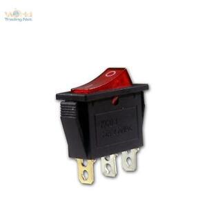 10 x Wippschalter1-polig, rote beleuchtet max 230V/15A, Wippenschalter Schalter