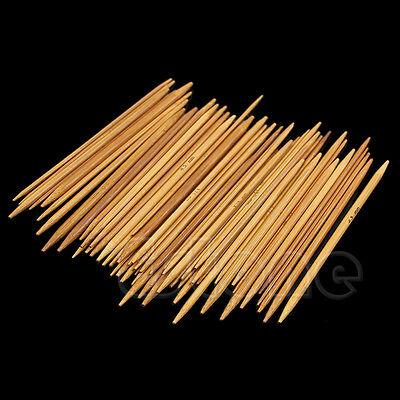 New 55Pcs 11Sizes 13cm Double Pointed Carbonized Smooth Bamboo Knitting Needles