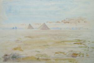 ECOLE-FRANCAISE-PAYSAGE-EGYPTE-PYRAMIDES-GIZEH-DESERT-AQUARELLE-ORIENTALISTE
