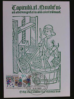 Briefmarken Unparteiisch Brd Mk 1980 Weinbau Wine Grape Wein Vine Maximumkarte Maximum Card Mc Cm C6452