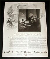 1920 OLD MAGAZINE PRINT AD, LYON & HEALY MUSICAL INSTRUMENTS, R JAMES PIANO ART!