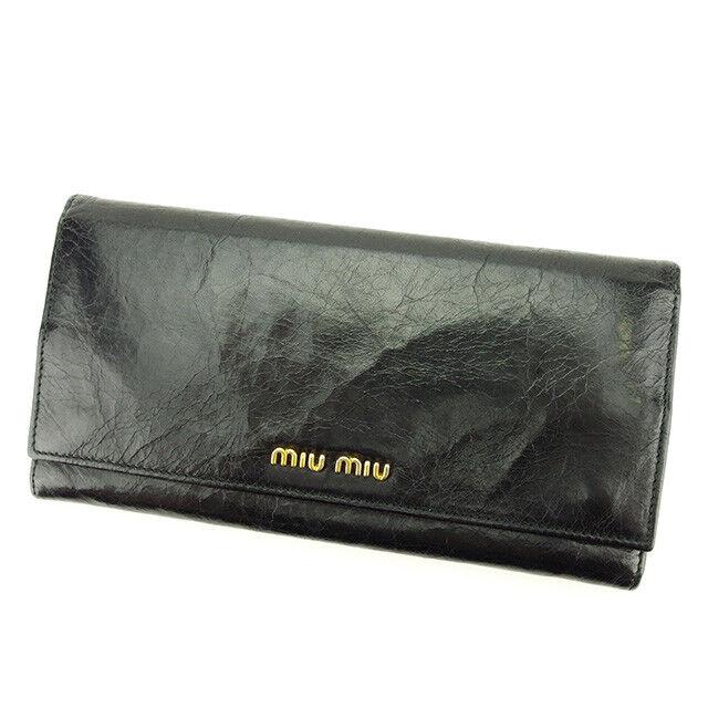 miumiu Wallet Purse Logo Black Gold Woman unisex Authentic Used T3024