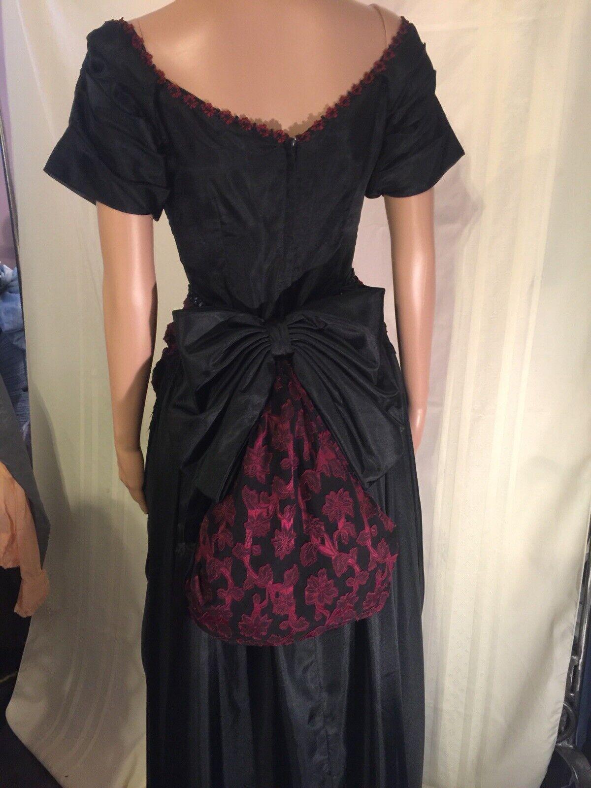 Victorian Black & Burgundy Western Bustle Dress S… - image 5