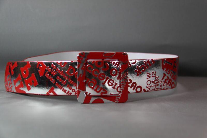 Breiter Vintage GÜrtel Silber -rot Beschriftet GrÖsse 90