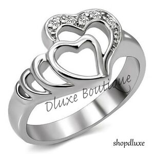 Women-039-s-Girls-Stainless-Steel-Forever-Double-Heart-AAA-CZ-Promise-Ring-Size-5-10