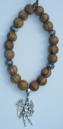 In Car Wood Wooden Beads /& Archangel Michael Miguel Charm Religious Holy Angel