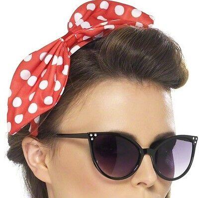 40s 50s 1940s 1950s Fancy Dress Polka Dot Head Bow on Headband New by Smiffys