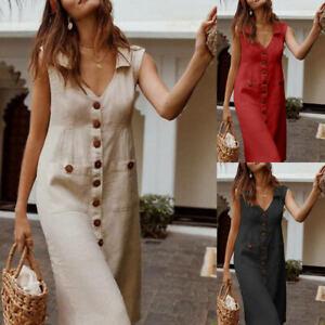 AU-Womens-Cotton-Linen-Shirt-Dresses-Sleeveless-Pocket-Ladies-Summer-Beach-Dress