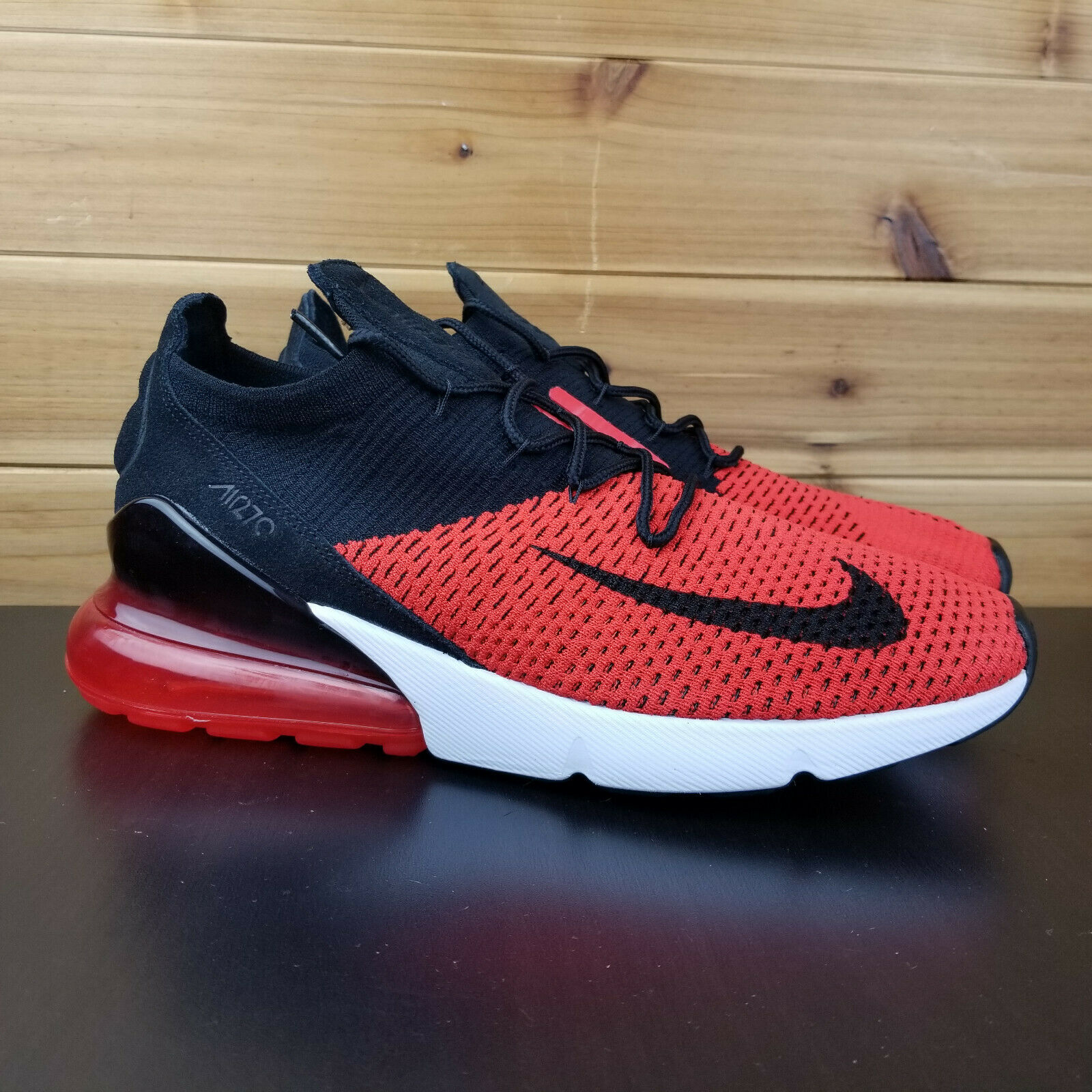 Nike Air Max 270 Flyknit Men's shoes Sz 9 Red Black White Running AO1023-601