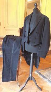 Rare ! Authentique Ancien Smoking,veste-queue-de-pie Drap De Laine- Mariage 1920 AgréAble à GoûTer