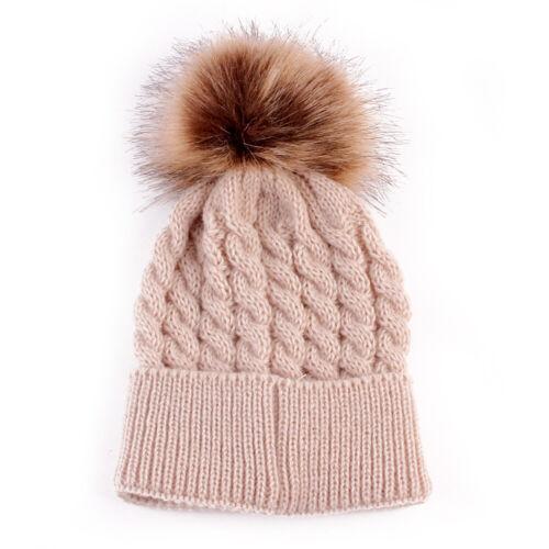 Momther Kid Baby Warm Winter Knit Wool Beanie Fur Pom Bobble Hat Crochet Ski Cap