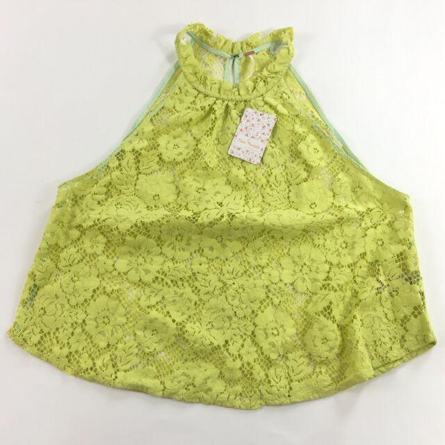 13c80303aa4 People Medium Tank Top Lace Sheer Sweet Meadow Dreams Chartreuse Neon M