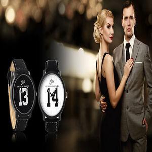 1314 Men Women Luxury Leather Band Quartz Analog Stainless Steel Wrist Watch