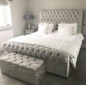NEW CHESTERFIELD SLEIGH BED ELEGANT DESIGN QUALITY FABRIC FREE /& FAST DELIVERY