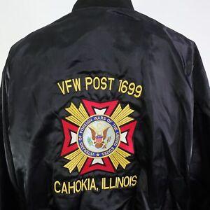 VTG VFW POST 1699 CAHOKIA ILLINOIS VETERAN FULL ZIP UP USA SATIN JACKET MENS 2XL