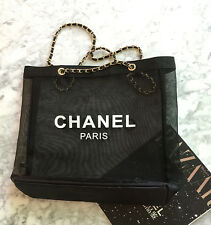 CHANEL Paris Black Mesh Tote Shopping Bag Leather Gold Chain VIP Gift Authentic