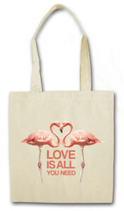 LOVE IS ALL YOU NEED FLAMINGOS STOFFTASCHE Flamingo Herz Love Liebe Unicorn